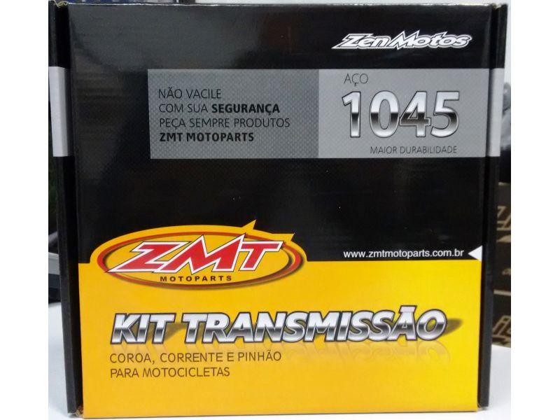 KIT RELAÇÃO TRANSMISSÃO HONDA BIZ 100 2012 EM DIANTE COROA CORRENTE PINHÃO - AÇO 1045