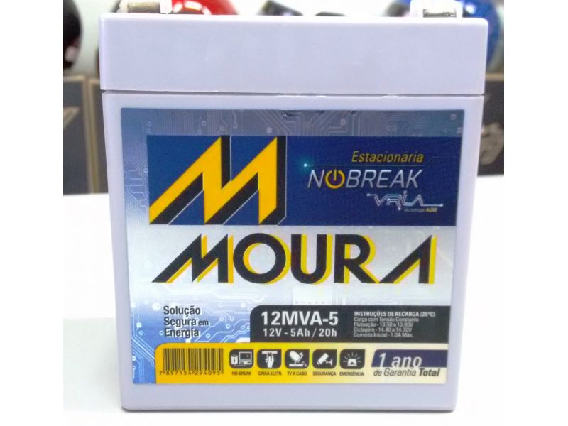 Bateria Moura 5ah Nobreak 12v Cftv Alarme Caixa Som Caixa Amplificada Nova Original 0486