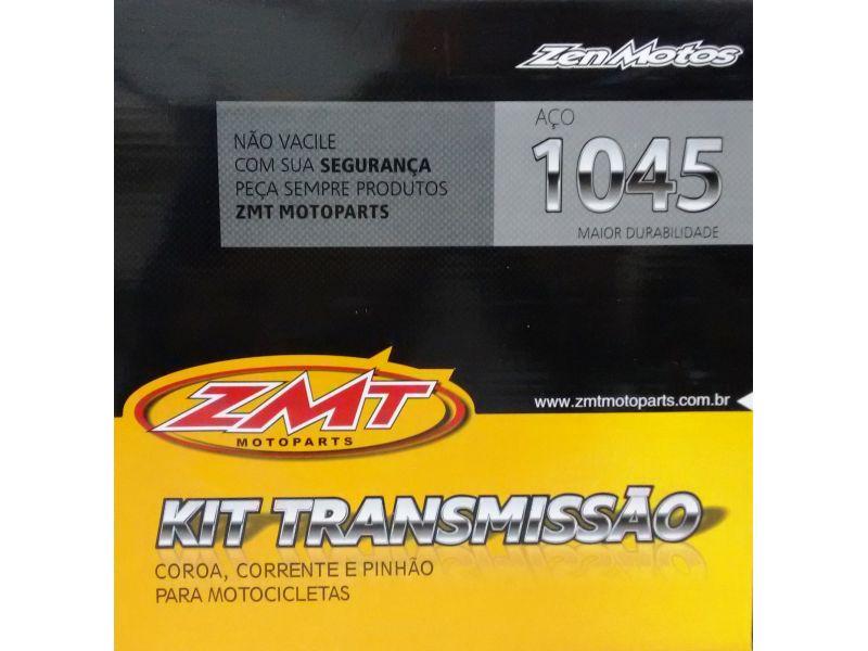 KIT RELAÇÃO TRANSMISSÃO HONDA  Biz 125 Ks Es Ex Injeção Flex One - COROA CORRENTE PINHÃO AÇO 1045