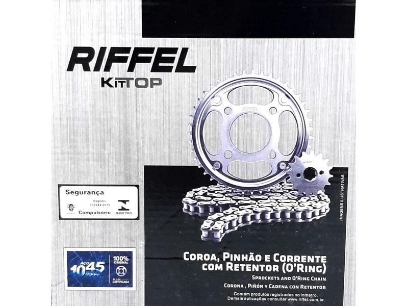 KIT RELAÇÃO TRANSMISSÃO CG 160 FAN START TITAN CARGO COM RETENTOR NOVO RIFFEL