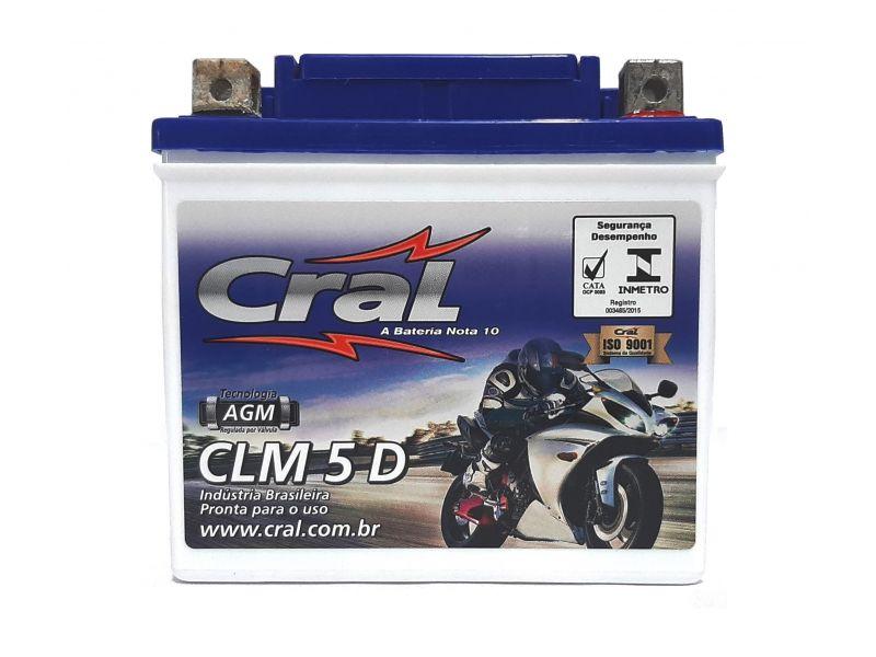 Bateria Moto CG BIZ BROS XRE 190 XRE 300 CB TWISTER  YBR FAZER 150 - 5ah Selada Sem Manutencao CRAL Clm5d 0549
