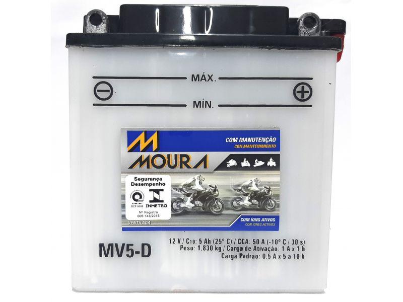 Bateria Moto 5ah Bateria De Moto 12v 5a 5 Amperes MOURA Mv5-d XTZ 125 CRYPTON 115