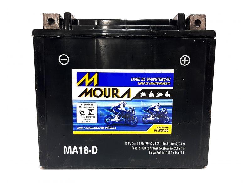 Bateria Moto 18ah Bateria De Moto 12v 18a 18 Amperes MOURA Ma18-d  FAT BOB DYNA SUPER GLIDE  FAT BOY  LOW RIDER  V-ROAD HARLEY DAVIDSON