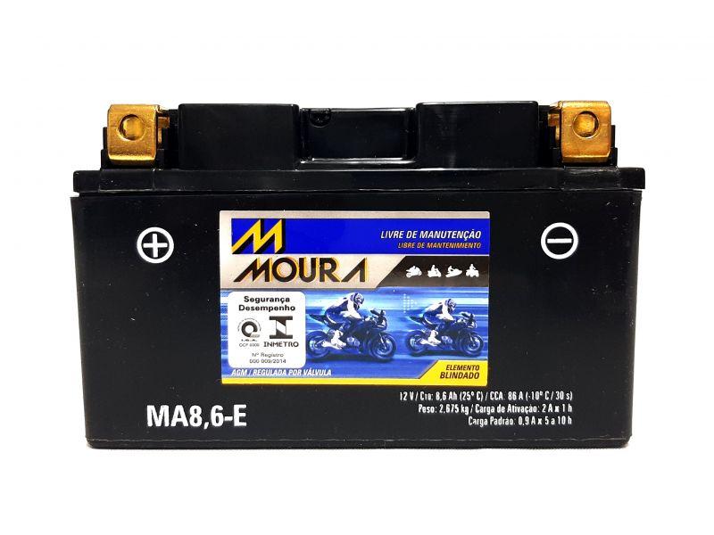 Bateria Moto 8,6ah Bateria De Moto 12v 8,6a Amperes MOURA Ma8,6-e  CB 500 MT07 MT09  CB500  CB 1000R CB 500X CBR 500