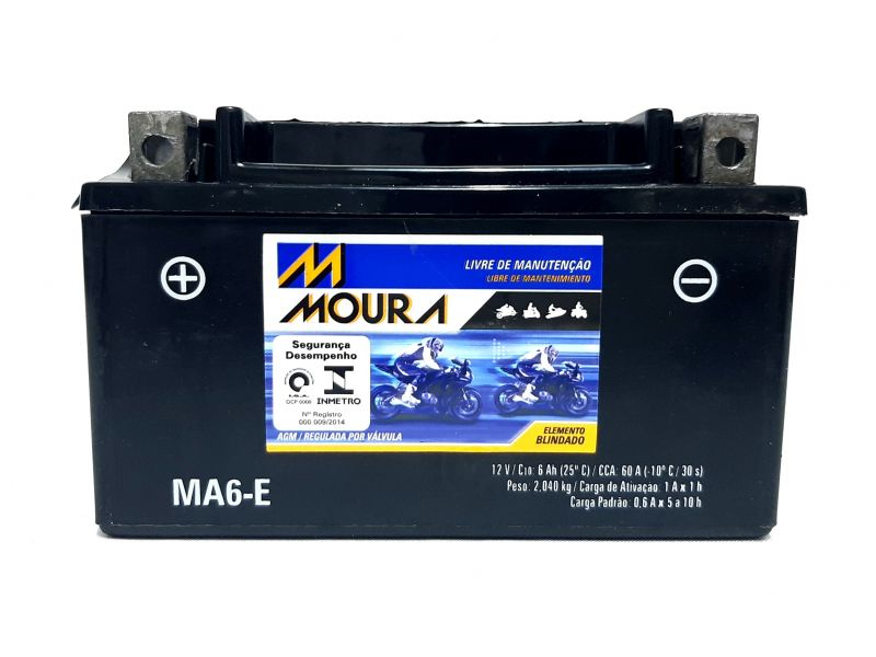 Bateria BURGMANN 125 Moto 6ah Bateria De Moto 12v 6a 6 Amperes MOURA Ma6-e  BURGMANN BURGMAN 125