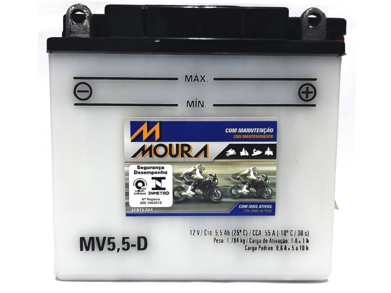 Bateria Moto 5,5ah Bateria De Moto 12v 5,5a Amperes MOURA Mv5,5-d YBR 125 RD 135 RDZ 135