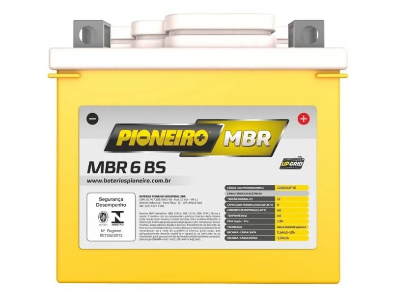 Bateria Moto  CG BROS BIZ C100 CROSSER YBR  6Ah PIONEIRO SELADA MBR6-BR