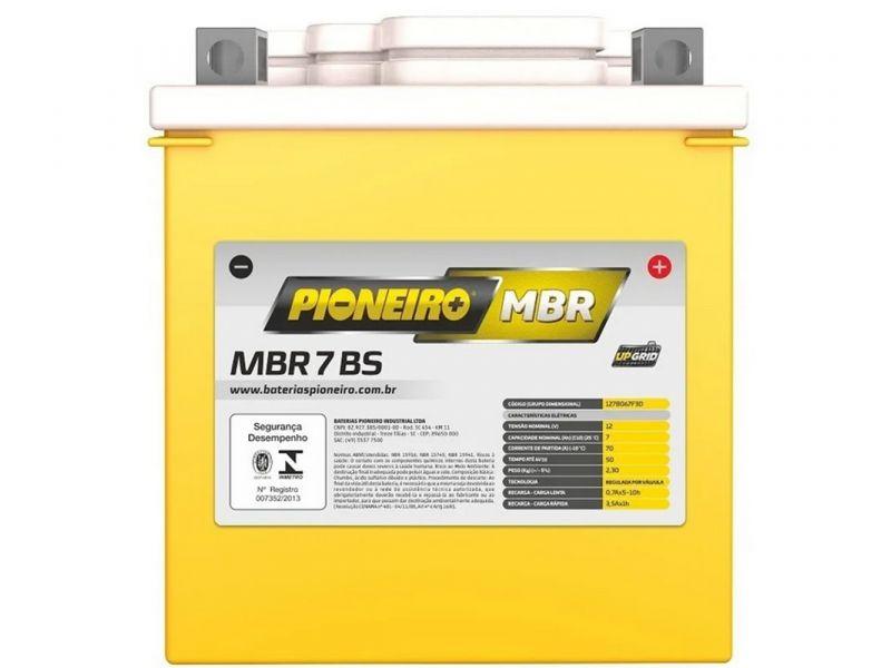 Bateria Moto 7ah  TORNADO LANDER TENERE FALCON  LEAD110 R3 CB 300  PIONEIRO MBR7-BS