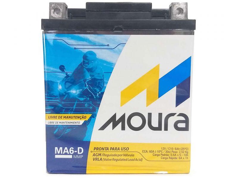 Bateria Moto 6ah MOURA SELADA GEL  Ma6-d TORNADO LANDER TENERE FALCON  LEAD110 R3