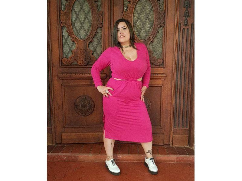 Vestido Explosão Rosa-Choque