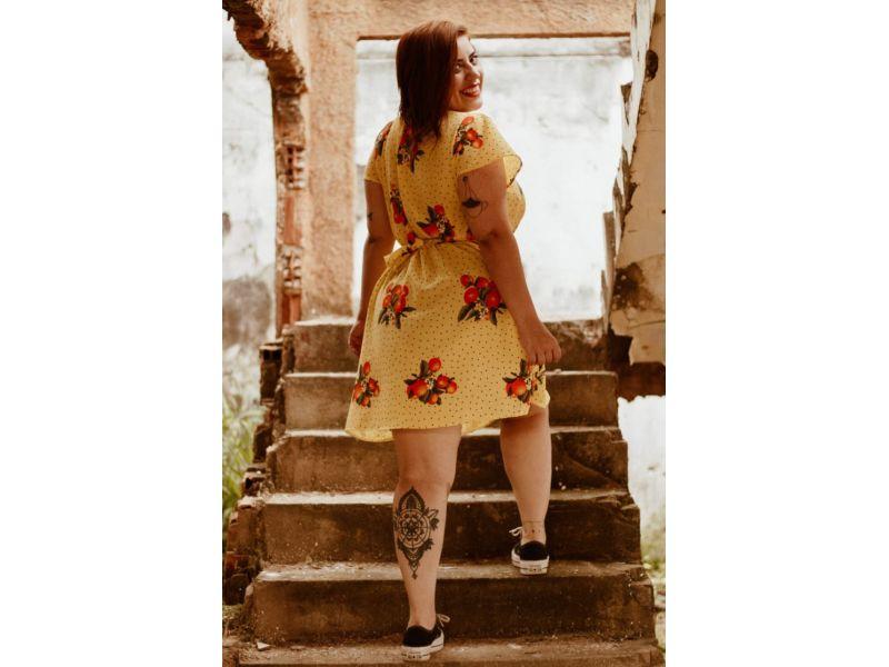 Vestido Curto Flor de Tangerina