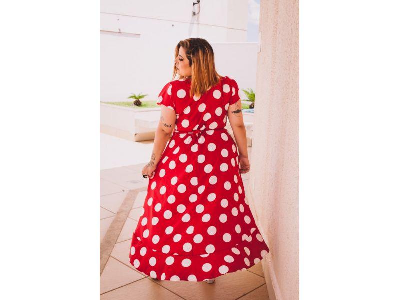 Vestido Longuete Assimétrico Bolinhas Vermelho