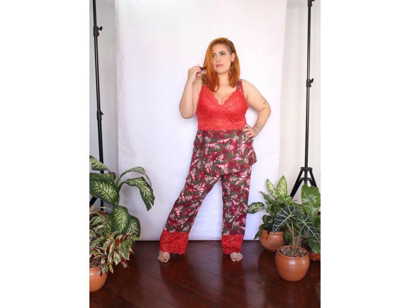 Pijama Prantinhas com Renda Vermelha - Calça e Brusinha