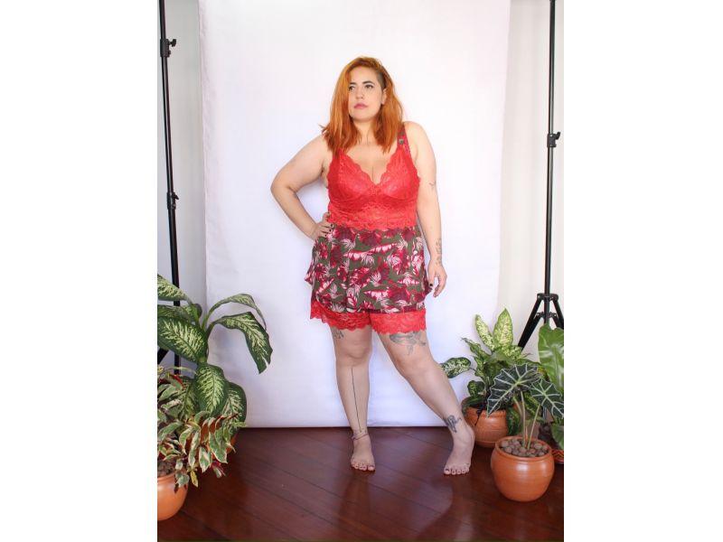 Pijama Prantinhas com Renda Vermelha - Short e Brusinha