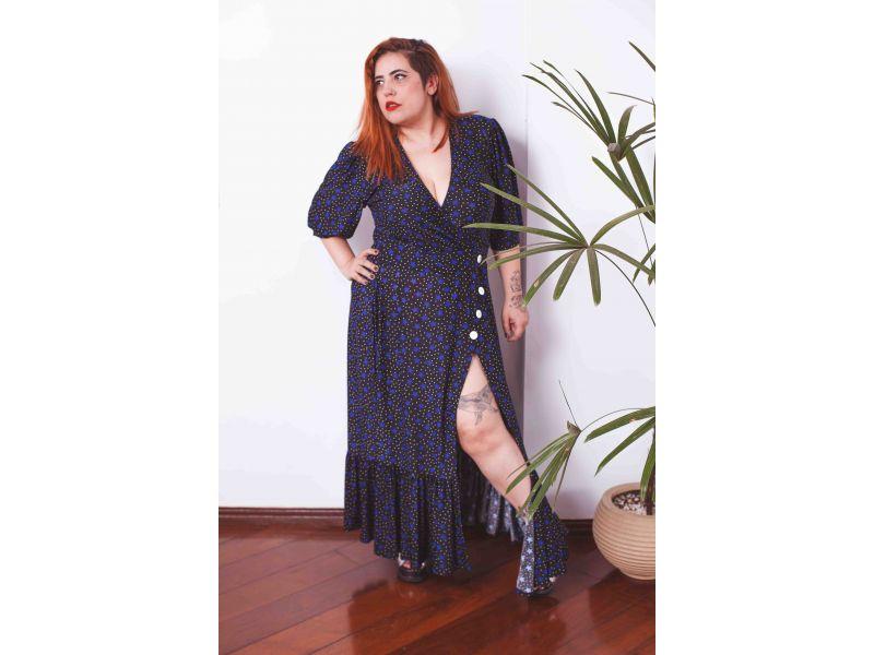 Vestido Longuete Bolinha e Estrela