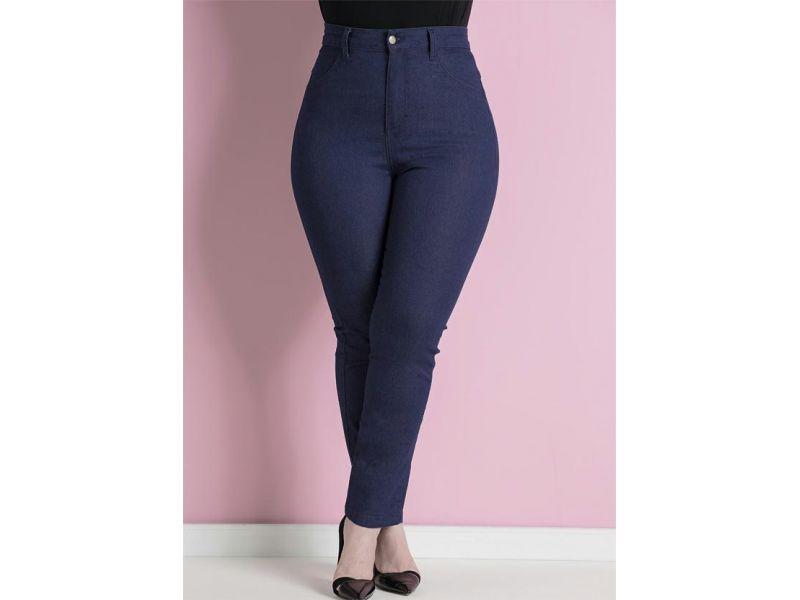2196190 Calça Jeans Skinny Azul Cintura Alta Plus Size