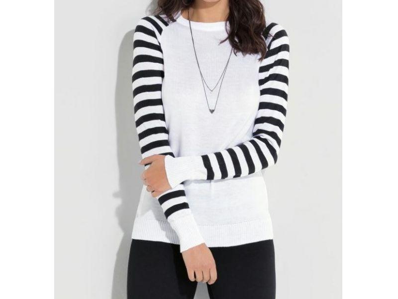 Suéter com Mangas Listradas Branco e Preto