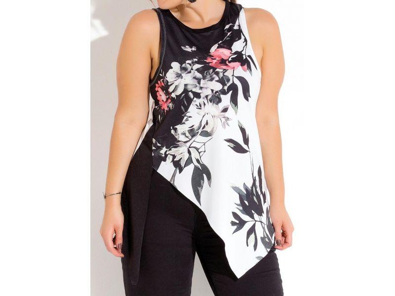 Blusa Assimétrica Preta E Branca Plus Size Quintess