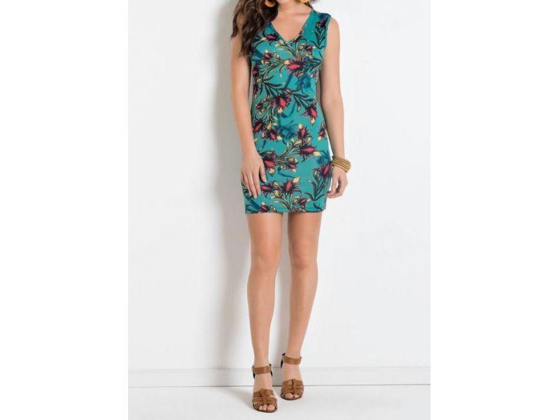 Vestido com Decote em V Floral e Turquesa