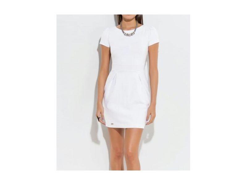 Vestido Curto Com Detalhe De Pregas Branco Quintess