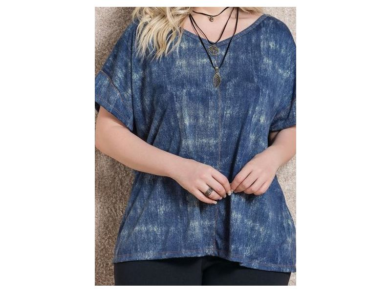 Blusa Soltinha Azul Quintess Plus Size