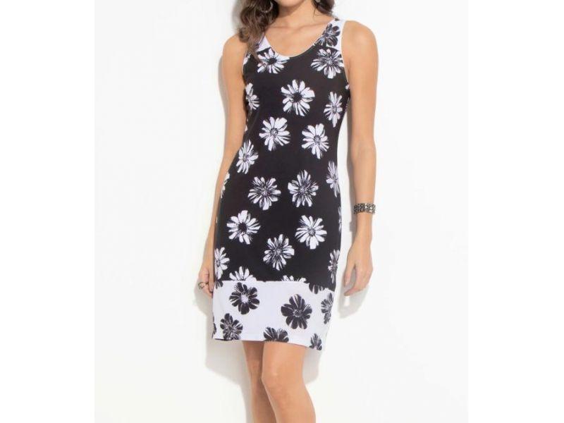 Vestido Quintess Floral Preto E Branco Reto