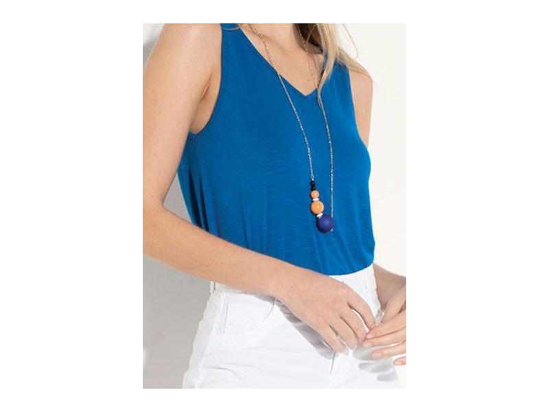 Blusa Quintess Azul Com Decote Em V