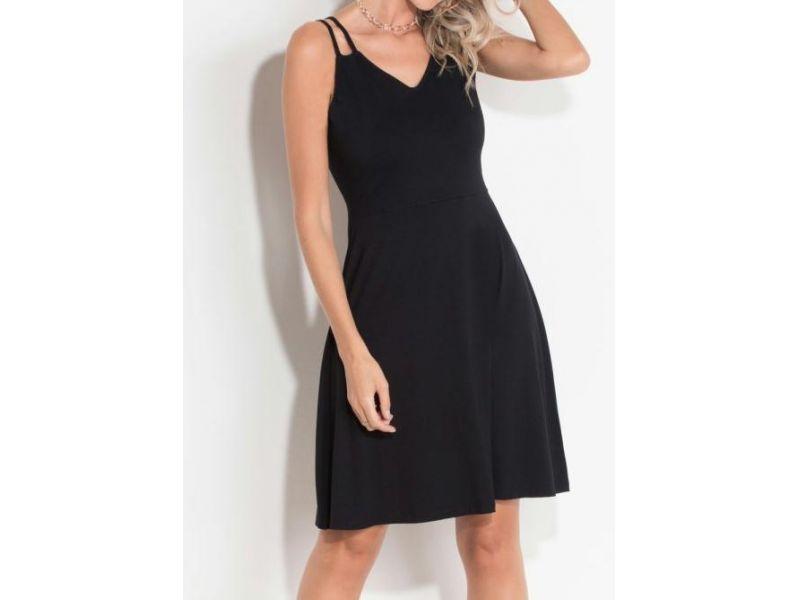 Vestido Quintess (preto) Com Tiras Duplas