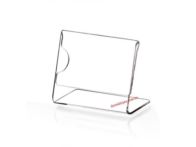 Display Acrilico Porta Etiqueta de preço 3,5 cm Alt X 6,5 cm Largura 2 cm de base