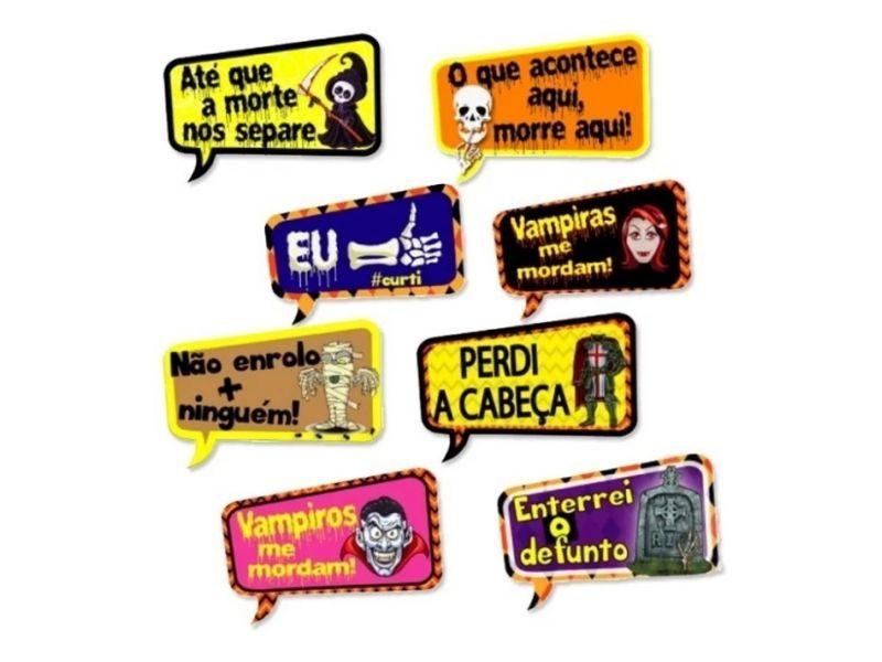 Plaquinhas Divertidas Halloween com 8 unidades
