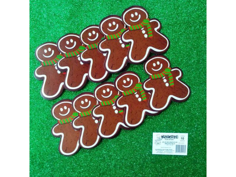 Aplique decorativo Biscoito Feliz Grande com 10 unidades
