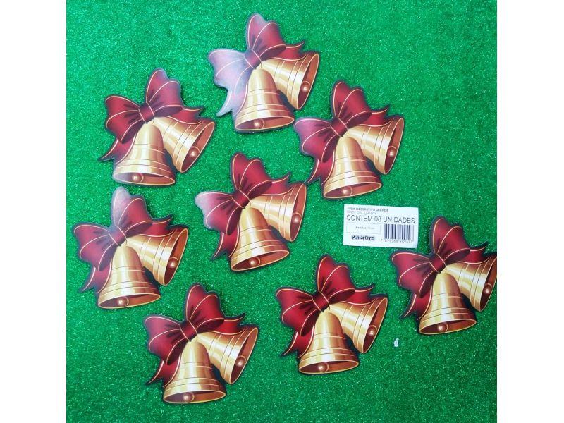 Aplique decorativo Sino de Natal com 8 unidades