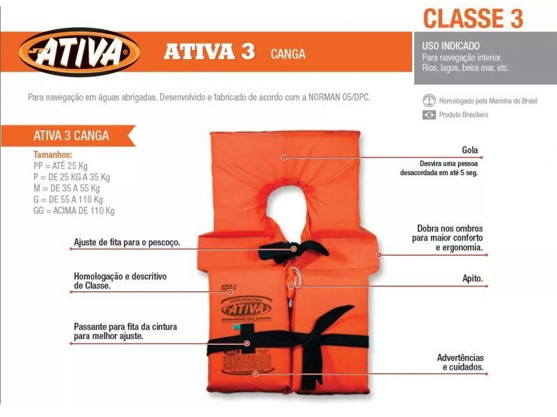 Colete Salva-Vidas ATIVA CLASSE III - Canga