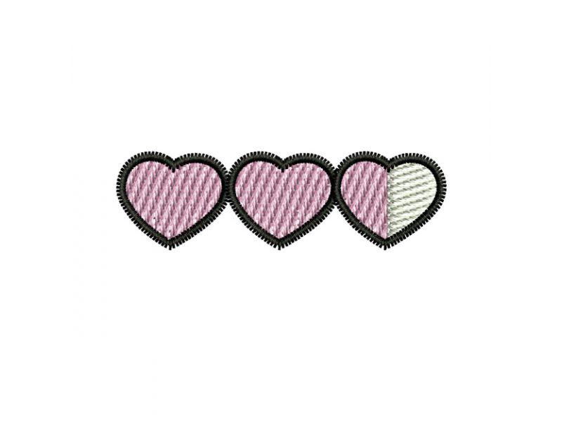 Patch Três Corações - Termocolante