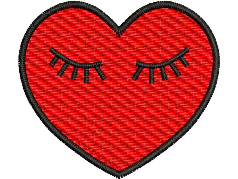 Patch Coração com Cílios - Termocolante