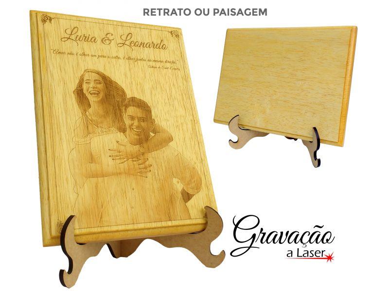Placa de Madeira  -  Fotogravação a laser -  19x27 cm