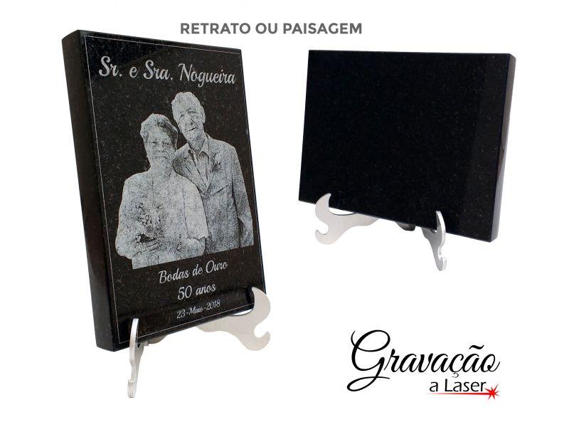 Placa de Granito Preto  -  Fotogravação a laser - 12x17 cm