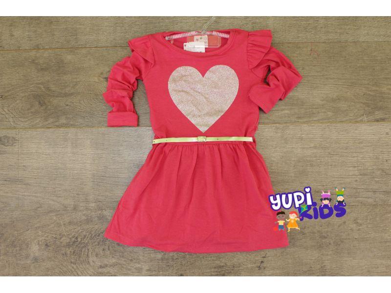 Vestido Coração de Manga Comprida com Cinto - Rosa