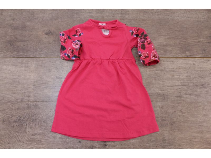 Vestido com Estampas nas Mangas - Rosa