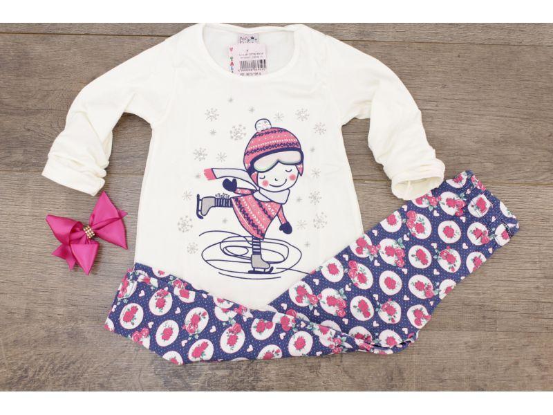 Conjunto menina feliz patinando com detalhes em strass - Offwhite/Azul e Rosa floral