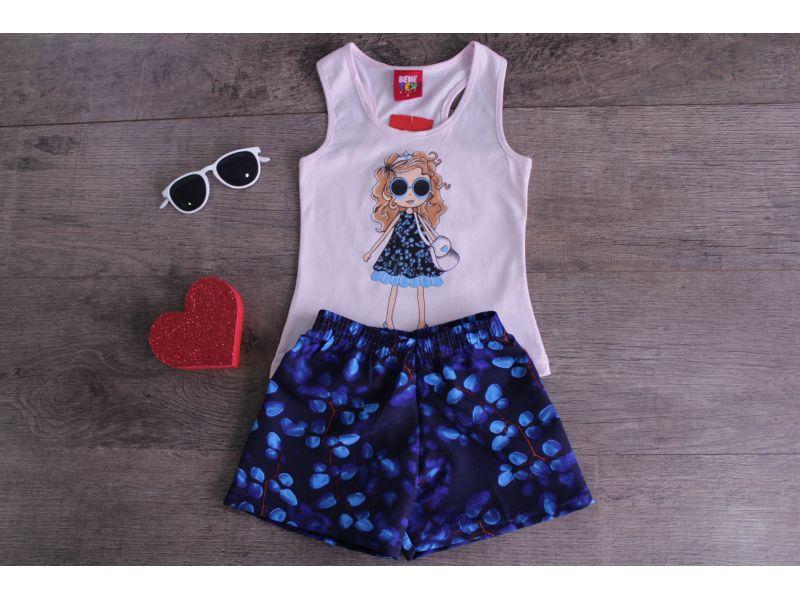 Menina Cacheada com Óculos Escuro - Rosa Claro e Azul