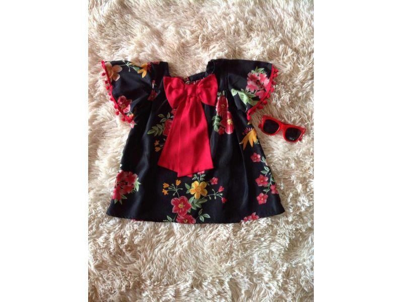 Vestido Floral com Laço