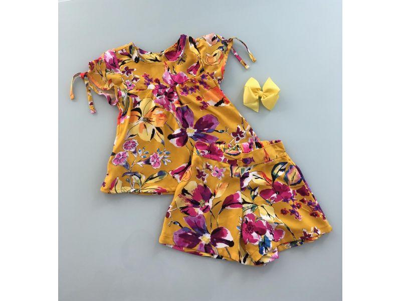 Conjunto Amarelo - Floral