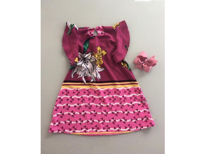 Vestido Roxo - Estampas Geométicas