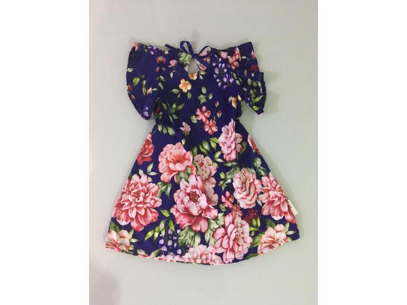 Vestido Floral - Azul Marinho