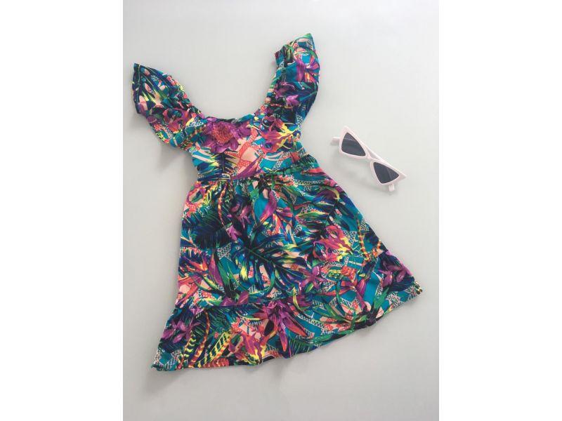Vestido Estampado - Colorido - Cruzado nas Costas