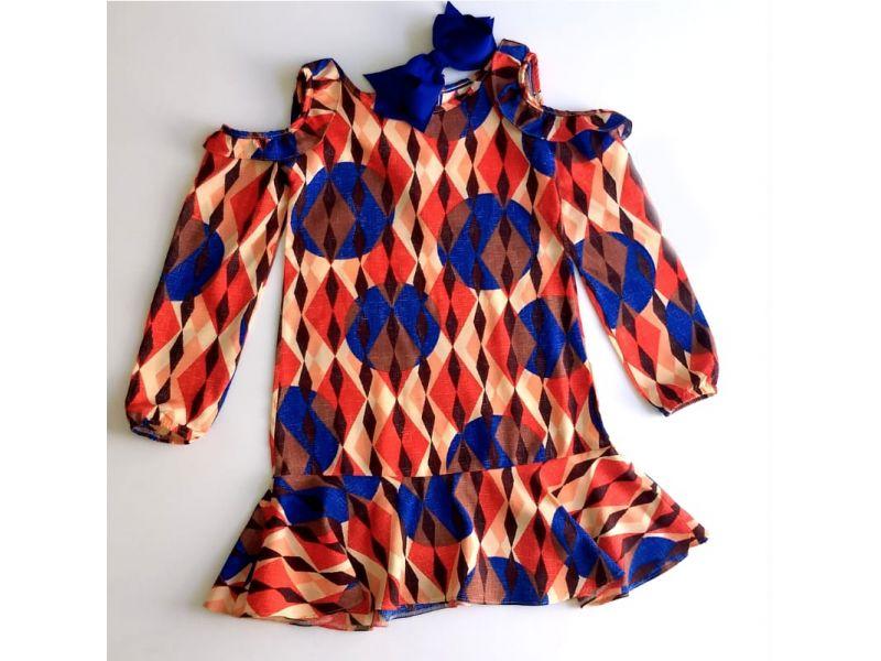 Vestido Vermelho - Estampas Geométricas