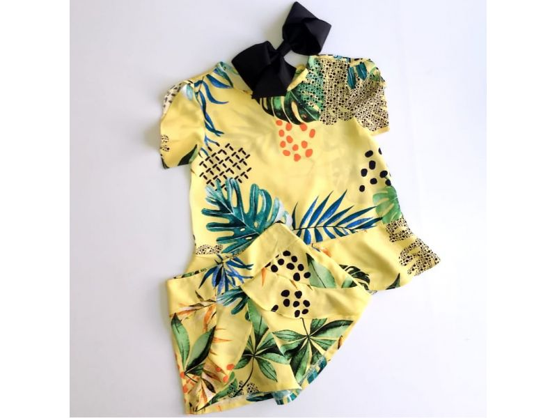 Conjunto Amarelo - Estampa Tropical