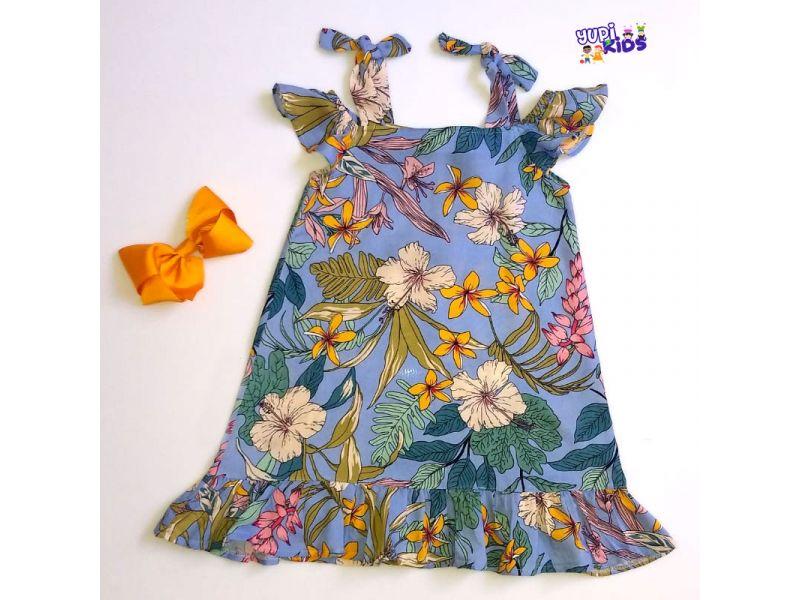 Vestido Floral com Laço - Azul