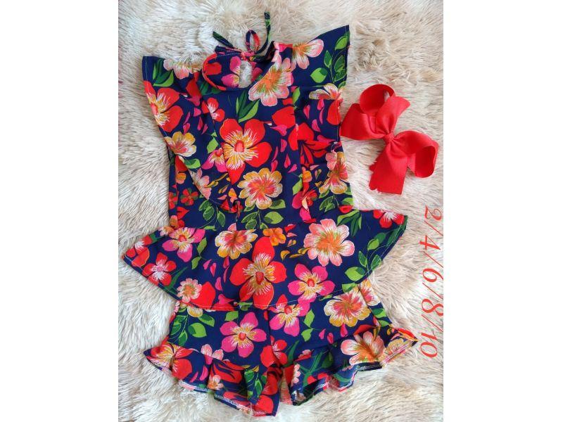 Conjunto Floral  - Marinho e Vermelho